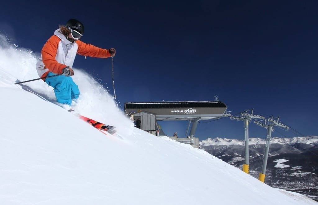 Imperial Express chairlift at Breckenridge ski area is the highest chairlift in North America