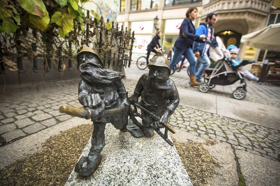 WROCLAW, POLAND - NOV 6, 2014: Small figurines dwarfs, appeared