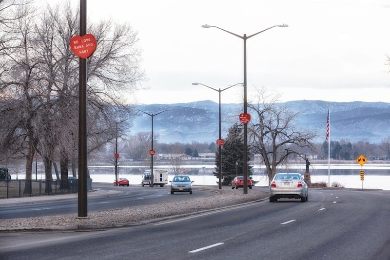 Loveland Colorado is the Nation's Sweetheart City. During the month of February, the city lines its street lampposts with giant red hearts that contain special little love notes from individuals wanting to sprinkle a little more love throughout the city
