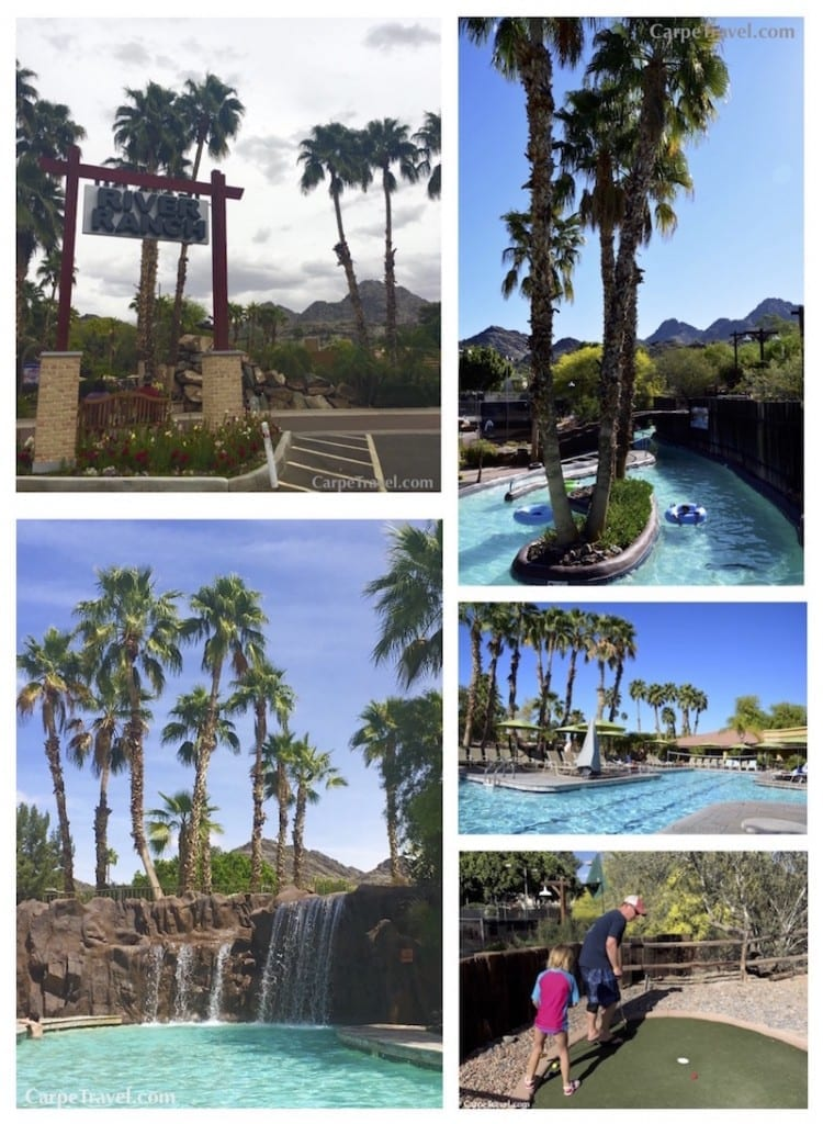 When we were selecting where to stay for our annual Spring Break trip to Phoenix the amenities at the Point Hilton Squaw Peak Resort sold us. There's the four-acre River Ranch water park with a half-mile lazy river perfect for tubing, a water slide, a sport pool, and a kids pool, all surrounded by 18 holes of mini-golf. There are four additional pools at the resort outside of the water park as well.