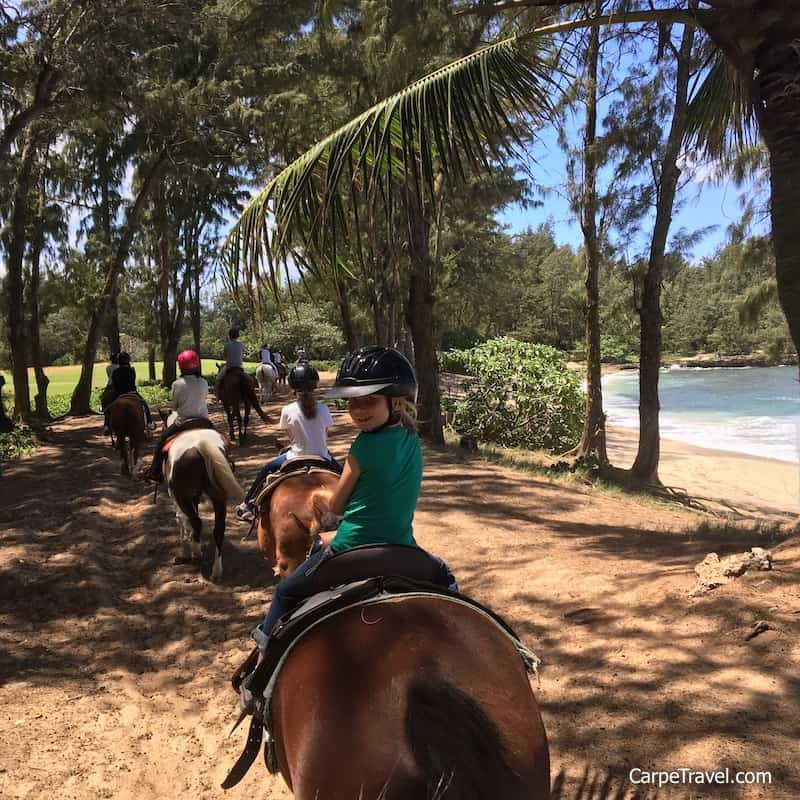 Horseback rides along the beach, yes! There are several different riding options you can choose, from sunset options, to group and private options ,as well day camps for kids. Click over to read the full Turtle Bay Resort review.