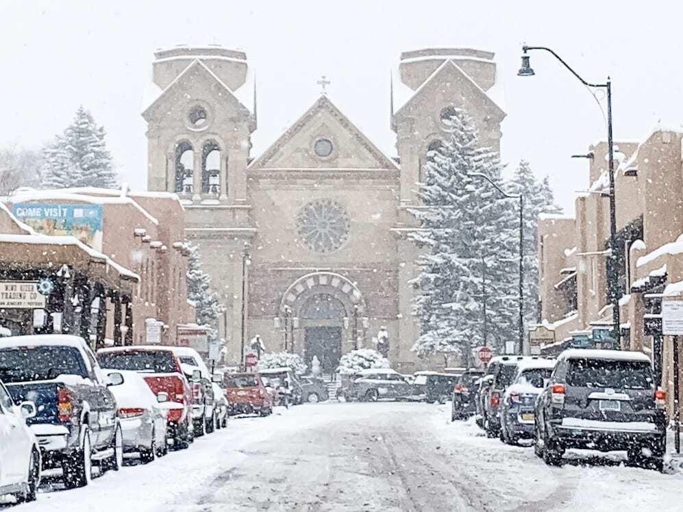 Its snowing in Santa Fe at the Basicila
