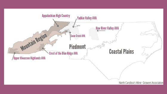 Map of North Carolina Wine Regions