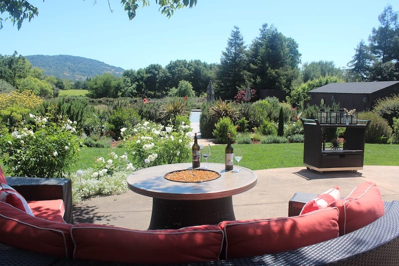 The terrace at Localism, one of the best Coombsville wineries to sip in.
