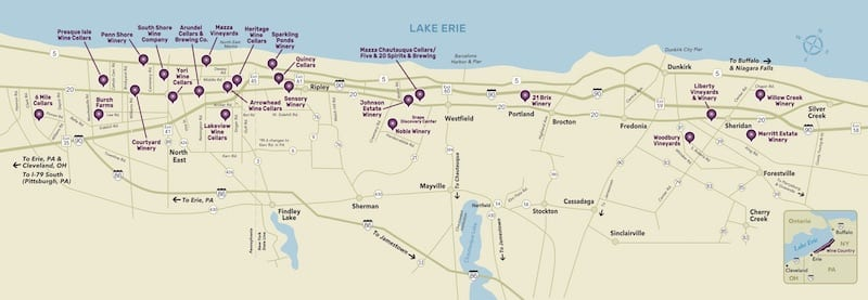 Map to the Lake Erie PA Wineries