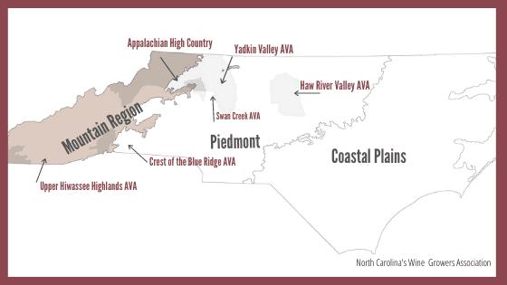 North Carolina Wine Region AVA Map